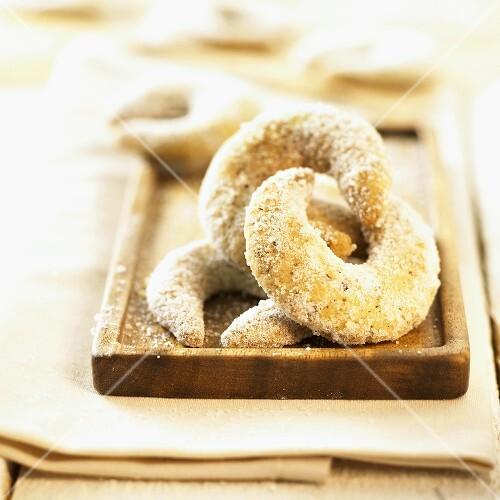 Vanilla crescents on a wooden tray