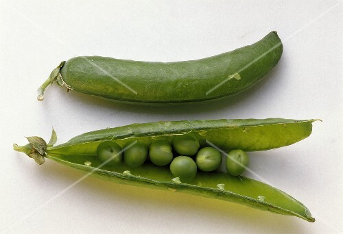 Open and Closed Green Pea Pod
