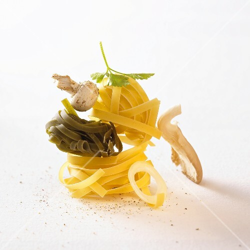 Ingredients for tagliatelle with mushrooms and herbs