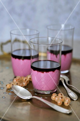 Elderberry panna cotta in glasses