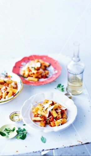 Rigatoni with tomato sauce and Parmesan
