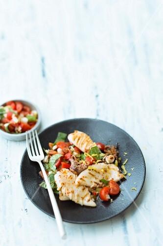 Calamaretti with tomato salsa