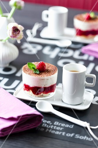 Raspberry tiramisu served with coffee