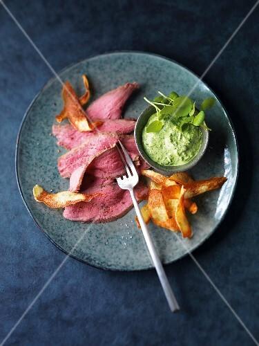 Rare veal with Frankfurt green sauce