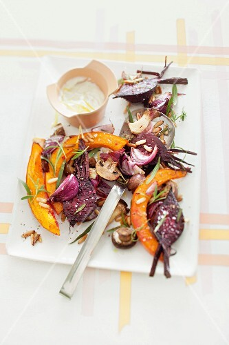 Autumnal oven-roasted vegetables with a sheep's cheese dip