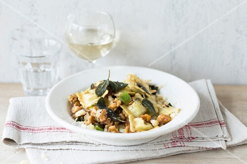 Ravioli with sage and nut butter