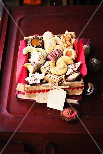 A basket of Christmas biscuits