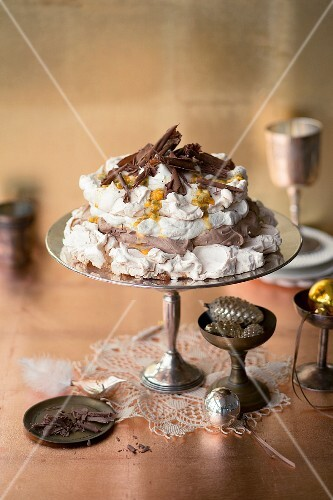 Chocolate Pavlova with passion fruit sauce