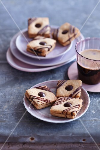 Truffle squares: shortbread sandwich biscuits filled with chocolate cream