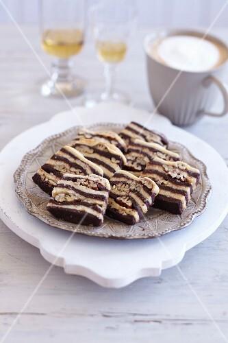 Zebra biscuits with pecan nuts