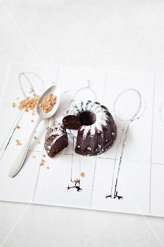 A mini ice cup brittle Bundt cake with chocolate, sliced
