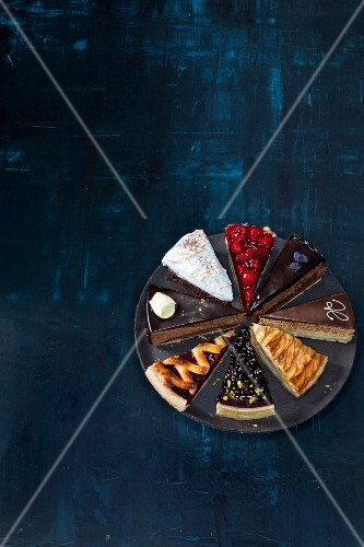 Various slices of cake on a plate