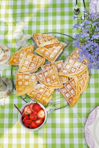 Buttermilk waffles on a garden table