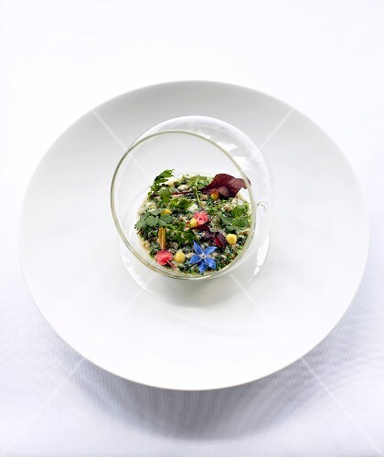 Oyster tartar with herbs and edible flowers
