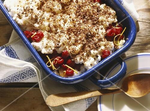 Layered Rice Pudding with Cherries