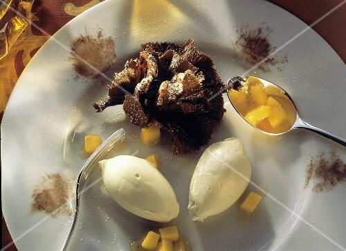 White Mousse au Chocolat with Mango