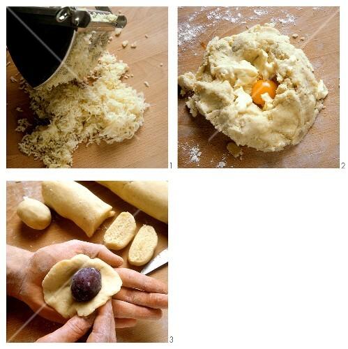 Making potato pastry for fruit dumplings