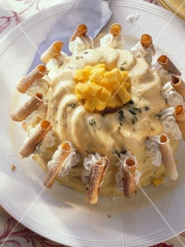 Mango-Icecream Gugelhupf with thin Pastry