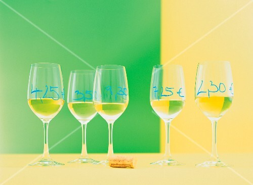 Glasses of white wine with prices written on them