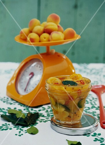 Homemade apricot chutney with ginger