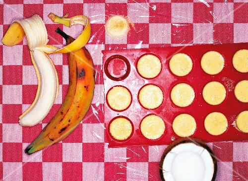 Banana croustillant with mini coconut creme brulee