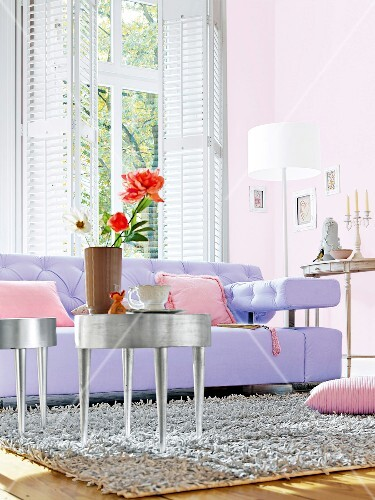 Astounding Purple Sofa With Pink Cushions And Silver Coffee Table In Theyellowbook Wood Chair Design Ideas Theyellowbookinfo