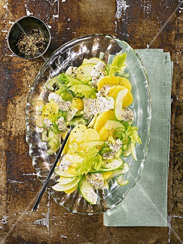 Potato salad with apples, celery and a mustard dressing