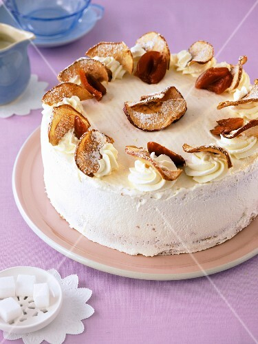 Baked damson and apple foam cake
