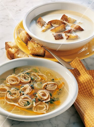 Allgäu cheese soup and Flädlesuppe (Swabian soup made with pancake strips) with vegetables