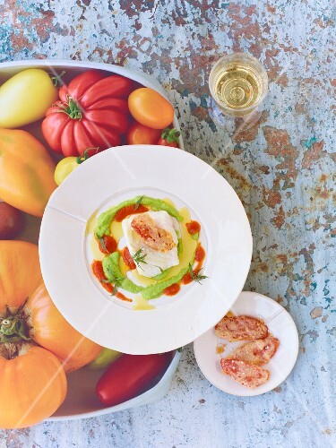 Cod with tempura tomatoes