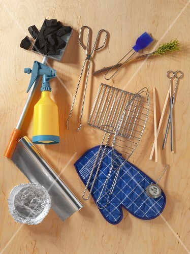 Various barbecuing utensils