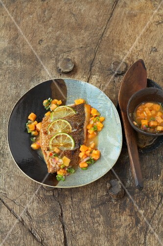 Red snapper with papaya relish