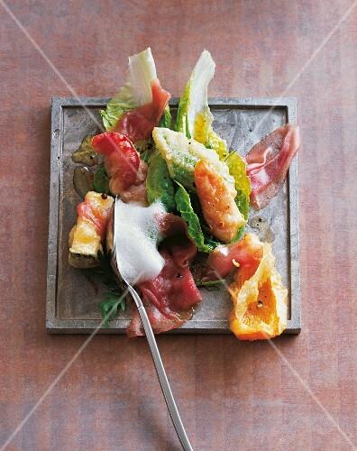 Tuna carpaccio on tempura vegetables