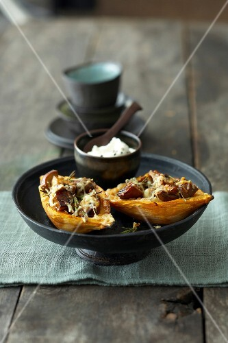Sweet potatoes with cheese in serving dish