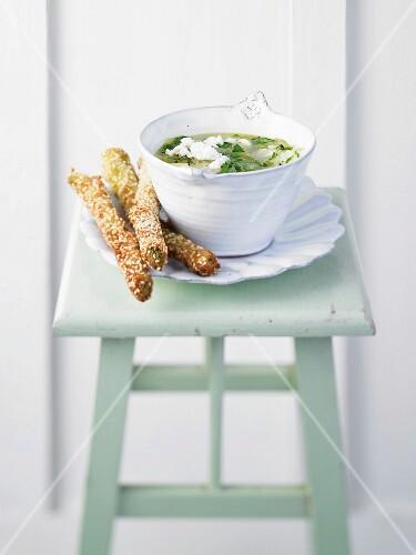 Basil and potato soup sesame-coated asparagus