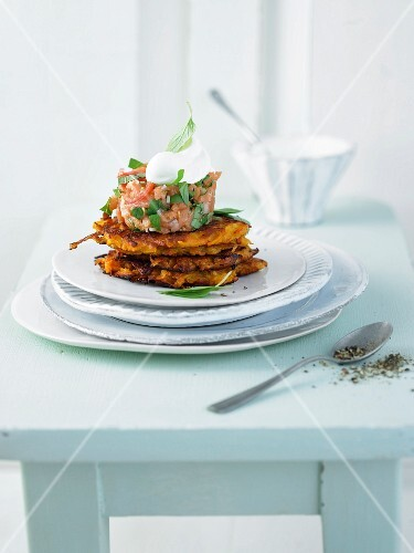 Salmon tatar with sweet potato fritters