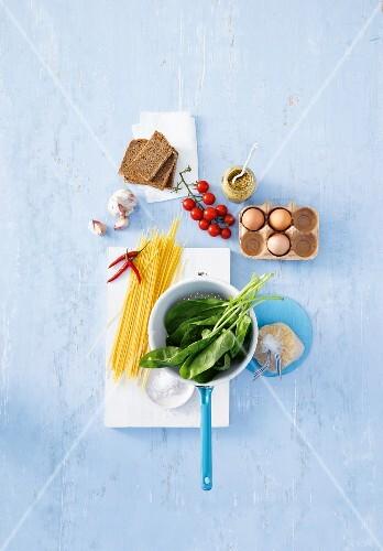 An arrangement of various foods