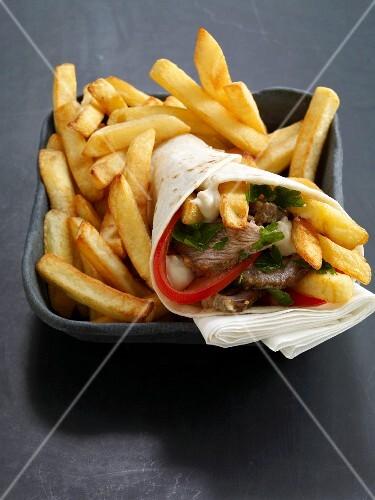 Shawarma with lamb and chips