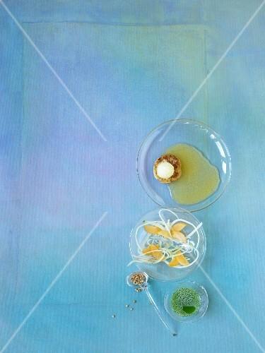 Apricot infusion, dandelion flower sorbet, almond blini and kasha