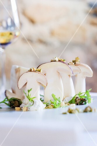 Sliced porcini mushrooms standing up