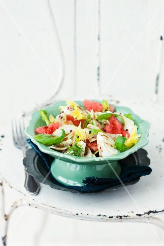 Watermelon salad with buffalo mozzarella and celery