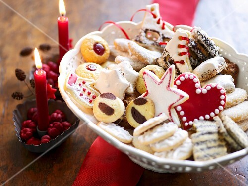 Various Christmas biscuits in a bowl
