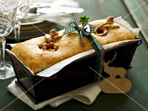 Game pie with apricots