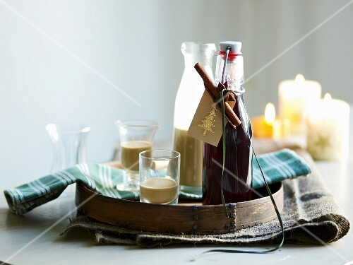 Homemade espresso liqueur and mulled wine syrup