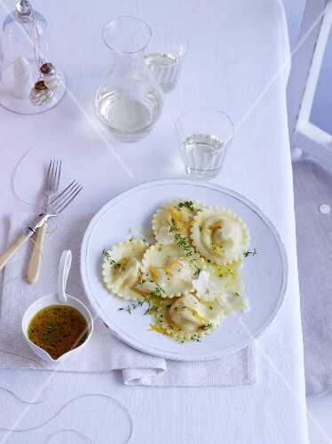 Sweet potato and chestnut ravioli with orange vinaigrette