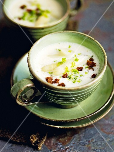 Cream of asparagus soup with grilled wholemeal bread