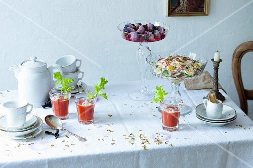 A hangover breakfast with a Virgin Mary and soused herring with beetroot