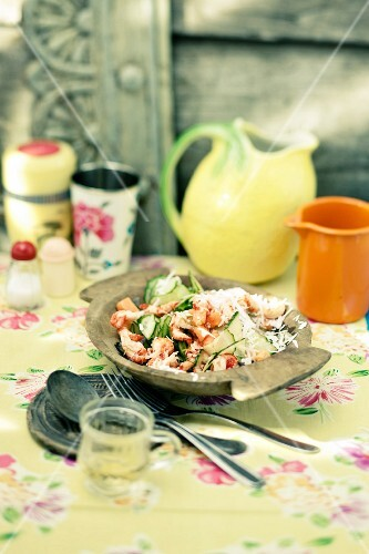 Cucumber and coconut salad with crayfish meat