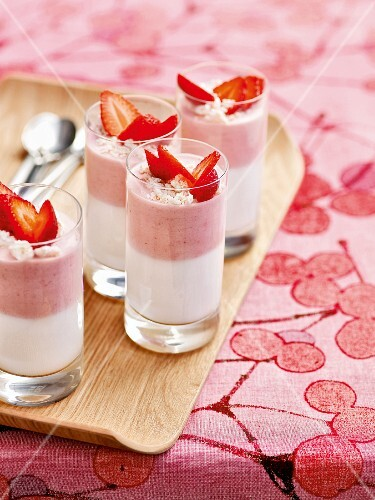 Strawberry and lemon cream with yoghurt in shot glasses
