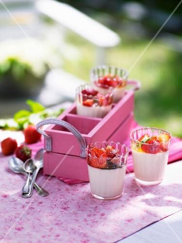 Elderflower panna cotta with strawberries